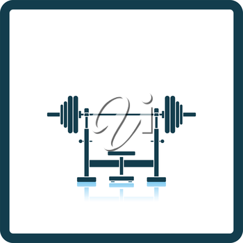 Icon of Bench with barbell. Shadow reflection design. Vector illustration.