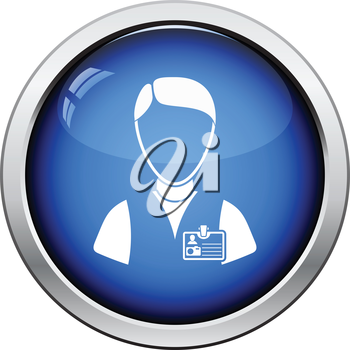 Icon of photographer. Glossy button design. Vector illustration.