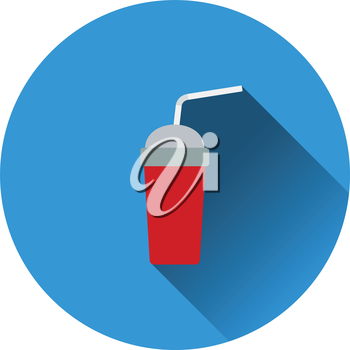 Disposable soda cup and flexible stick icon. Flat color design. Vector illustration.