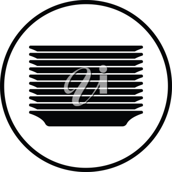 Plate stack icon. Thin circle design. Vector illustration.