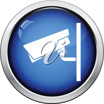 Security camera icon. Glossy button design. Vector illustration.