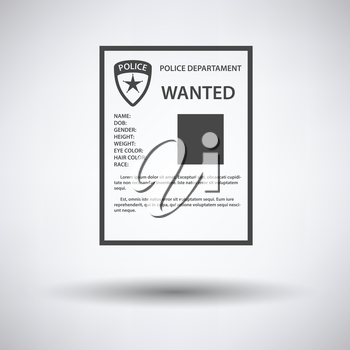 Wanted poster icon on gray background with round shadow. Vector illustration.