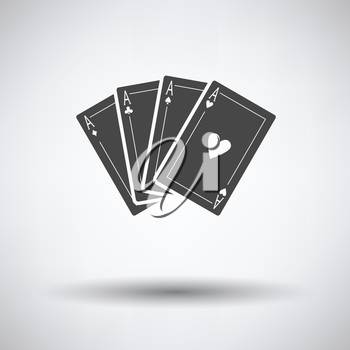 Set of four card icons on gray background with round shadow. Vector illustration.