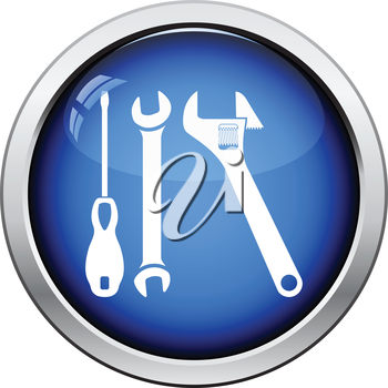 Wrench and screwdriver icon. Glossy button design. Vector illustration.