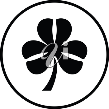 Shamrock icon. Thin circle design. Vector illustration.