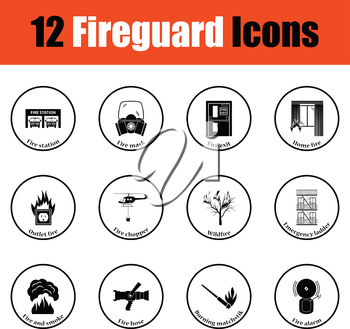 Set of fire service icons.  Thin circle design. Vector illustration.