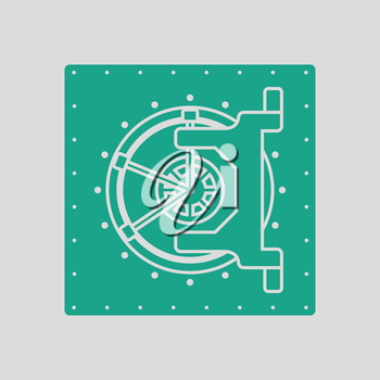 Safe icon. Gray background with green. Vector illustration.