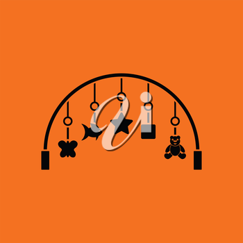 Baby arc with hanged toys icon. Orange background with black. Vector illustration.
