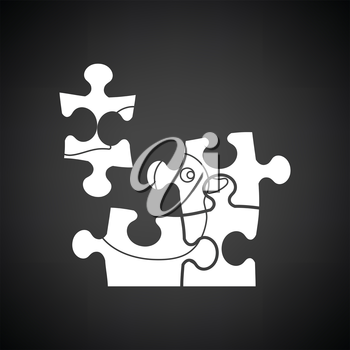Baby puzzle ico. Black background with white. Vector illustration.