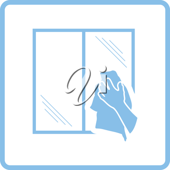 Hand wiping window icon. Blue frame design. Vector illustration.