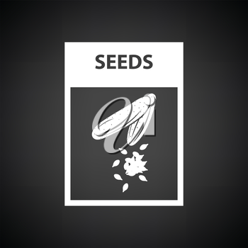 Seed pack icon. Black background with white. Vector illustration.