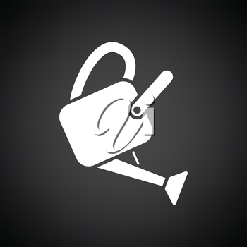 Watering can icon. Black background with white. Vector illustration.