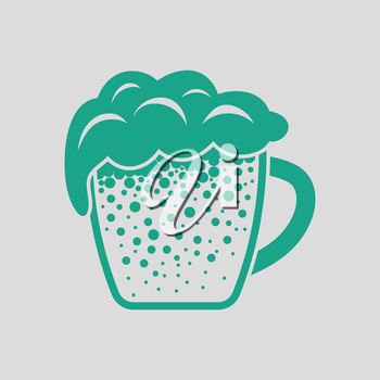 Mug of beer icon. Gray background with green. Vector illustration.