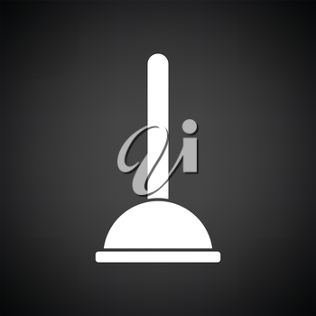 Plunger icon. Black background with white. Vector illustration.