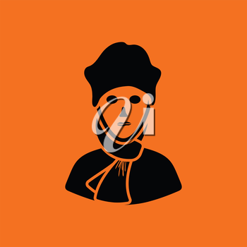 Poet icon. Orange background with black. Vector illustration.