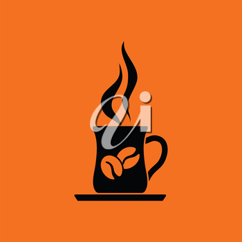 Coffee cup icon. Orange background with black. Vector illustration.
