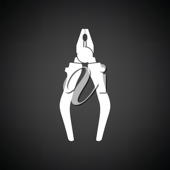 Pliers tool icon. Black background with white. Vector illustration.