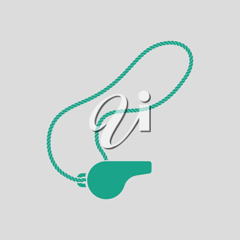 Whistle on lace icon. Gray background with green. Vector illustration.