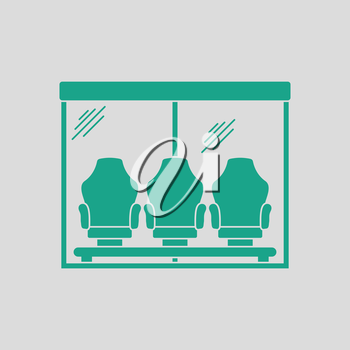 Soccer player's bench icon. Gray background with green. Vector illustration.