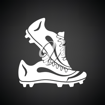 Pair soccer of boots  icon. Black background with white. Vector illustration.