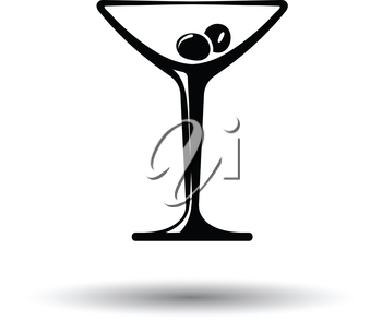 Cocktail glass icon. White background with shadow design. Vector illustration.