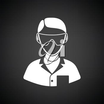 Icon of chemist in eyewear. Black background with white. Vector illustration.