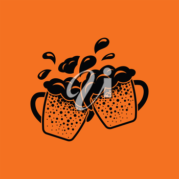 Two clinking beer mugs with fly off foam icon. Orange background with black. Vector illustration.