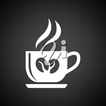 Coffee cup icon. Black background with white. Vector illustration.