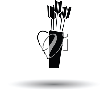 Quiver with arrows icon. White background with shadow design. Vector illustration.