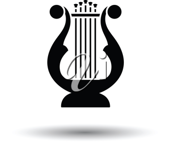 Lyre icon. White background with shadow design. Vector illustration.