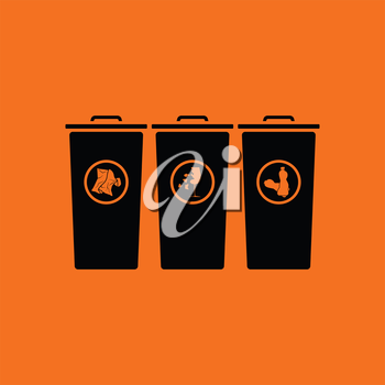Garbage containers with separated trash icon. Orange background with black. Vector illustration.