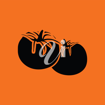 Tomatoes icon. Orange background with black. Vector illustration.