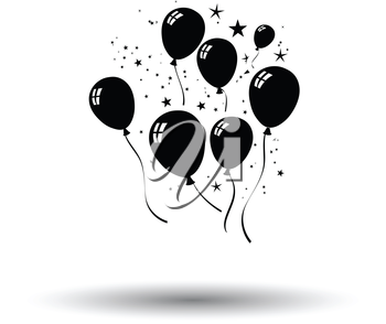 Party balloons and stars icon. White background with shadow design. Vector illustration.