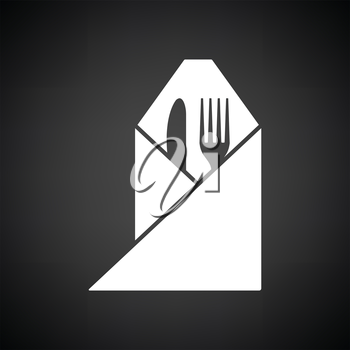 Fork and knife wrapped napkin icon. Black background with white. Vector illustration.