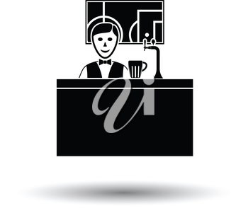 Sport bar stand with barman behind it and football translation on tv icon. White background with shadow design. Vector illustration.