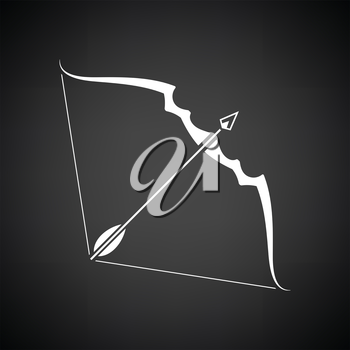 Bow and arrow icon. Black background with white. Vector illustration.