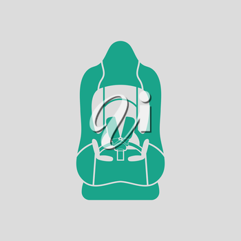 Baby car seat icon. Gray background with green. Vector illustration.