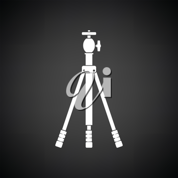 Icon of photo tripod. Black background with white. Vector illustration.
