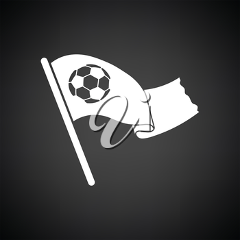 Football fans waving flag with soccer ball icon. Black background with white. Vector illustration.
