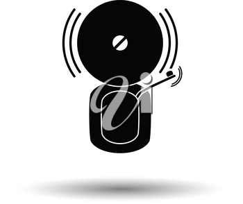 Fire alarm icon. White background with shadow design. Vector illustration.