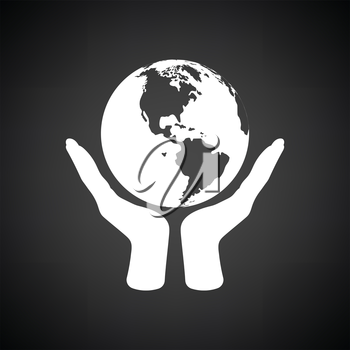 Hands holding planet icon. Black background with white. Vector illustration.