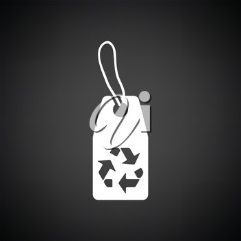 Tag and recycle sign icon. Black background with white. Vector illustration.