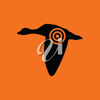 Flying duck  silhouette with target  icon. Orange background with black. Vector illustration.