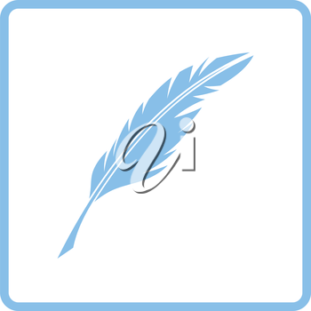 Writing feather icon. Blue frame design. Vector illustration.