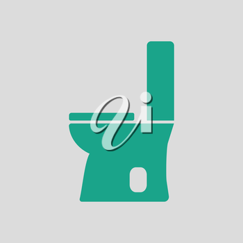 Toilet bowl icon. Gray background with green. Vector illustration.
