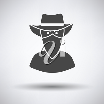 Cowboy with a scarf on face icon on gray background, round shadow. Vector illustration.