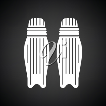 Cricket leg protection icon. Black background with white. Vector illustration.