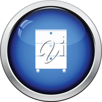 Office cabinet icon. Glossy button design. Vector illustration.