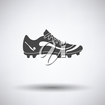 Crickets boot icon on gray background, round shadow. Vector illustration.