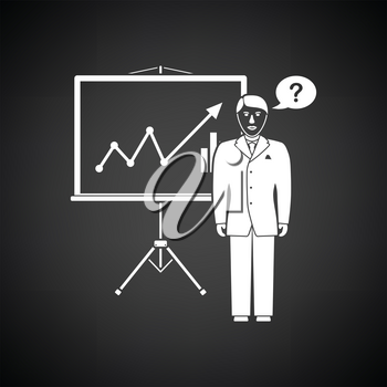 Clerk near analytics stand icon. Black background with white. Vector illustration.